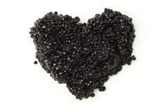 Hart van zwarte kaviaar Royalty-vrije Stock Foto