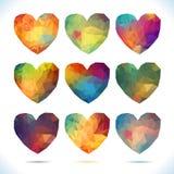 Hart vastgestelde Vectordie retro harten van kleur worden gemaakt Stock Afbeelding