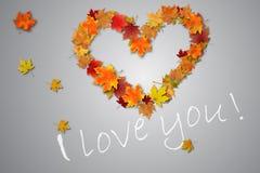 Hart, verklaring van liefde, de herfstbladeren op de bestrating stock foto's