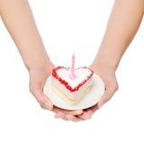 Hart-vorm cake Royalty-vrije Stock Afbeeldingen