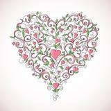Hart-vormig bloemenornament, vectorillustratie Royalty-vrije Stock Foto