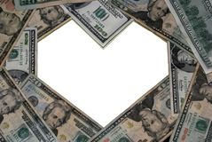 Hart-vormig dollarframe Royalty-vrije Stock Afbeeldingen