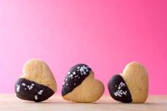 Hart-vormig koekje drie Stock Foto
