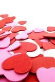 Hart-vormige confettienachtergrond Stock Afbeeldingen