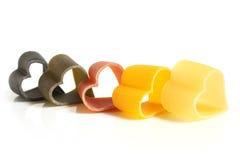 Hart-vormige gekleurde Italiaanse deegwaren Stock Afbeelding