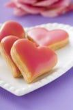 Hart-vormige koekjes Stock Foto's