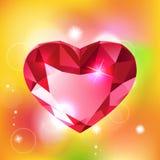 Hart-vormige rode diamant vectorillustratie Royalty-vrije Stock Afbeelding