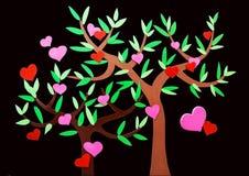 Hart-vormige symbool en boom Stock Afbeeldingen