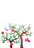 Hart-vormige symbool en boom Stock Afbeelding