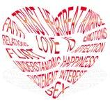 Hart-vormige tekst over welke liefde is Stock Foto