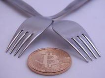 Hart-weiche Gabel Bitcoin Stockbilder