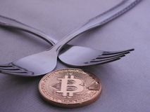 Hart-weiche Gabel Bitcoin Lizenzfreies Stockfoto