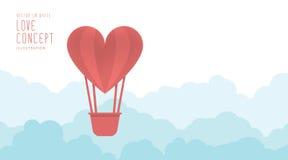 Hartballon die in de hemel vrij en wolken vlakke vector drijven Royalty-vrije Stock Foto