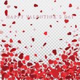 Hartconfettien van Valentijnskaartenbloemblaadjes die op transparante achtergrond vallen Bloembloemblaadje in vorm van hartconfet Royalty-vrije Stock Fotografie