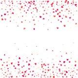 Hartconfettien van Valentijnskaartenbloemblaadjes die op witte achtergrond vallen Stock Foto's