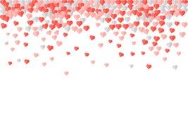 Hartconfettien van Valentijnskaartenbloemblaadjes die op witte achtergrond vallen Roze patroon van willekeurige dalende hartencon Stock Foto