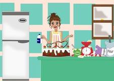 Harte Arbeit in der Küche lizenzfreie abbildung