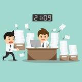 Harte Arbeit des Geschäftsmannes über Bürovektorillustration Lizenzfreies Stockfoto