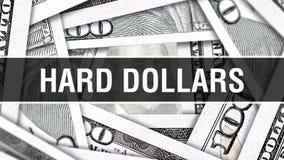 Harte Dollar Nahaufnahme-Konzept- Amerikanische Dollar des Bargeld-, Wiedergabe 3D Harte Dollar an der Dollar-Banknote Finanz-USA vektor abbildung