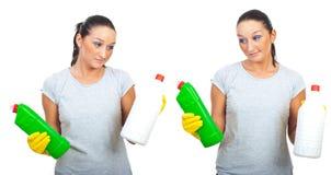 Harte Wahl von zwei Reinigungsprodukten Lizenzfreie Stockfotos