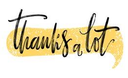 Hartelijk dank Hand het getrokken creatieve kalligrafie en borstelpen van letters voorzien, ontwerp voor de kaarten van de vakant stock illustratie