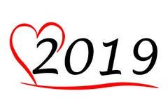 Hartelijk die jaar 2019 met Liefdeillustratie op witte achtergrond wordt geïsoleerd royalty-vrije illustratie