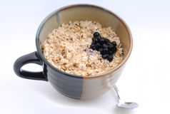 Hartelijk ontbijt van havermeel en bosbessen royalty-vrije stock afbeelding