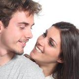 Hartelijk paar in liefde het flirten royalty-vrije stock foto's