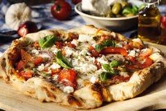 Hartelijke Griekse Stijlpizza royalty-vrije stock foto's