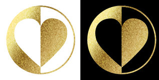 Hartembleem in gouden Stock Afbeeldingen