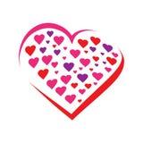 Harten binnen een hartpictogram royalty-vrije illustratie