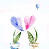 Harten, bloemen stock illustratie