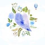 Harten, bloemen en linten royalty-vrije illustratie