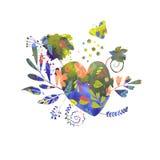 Harten, bloemen en vlinder stock fotografie