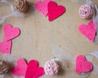 Harten, de groetkaart van de Valentijnskaartendag Stock Foto