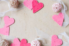 Harten, de groetkaart van de Valentijnskaartendag Stock Fotografie