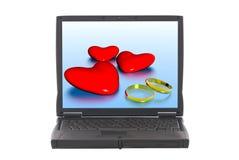 Harten die van de valentijnskaart, de online dateren Stock Fotografie