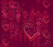 Harten en abstracte rozen Royalty-vrije Stock Afbeeldingen