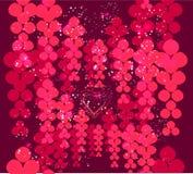Harten en abstracte rozen op donkerrode achtergrond Royalty-vrije Stock Afbeeldingen