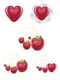 Harten en appeleninzameling Royalty-vrije Stock Afbeeldingen