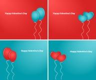 Harten en ballons de Dag van Gelukkig Valentine Stock Afbeelding