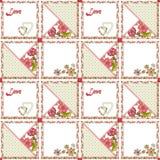 Harten en bloemen van het lapwerk de de naadloze patroon Royalty-vrije Stock Fotografie