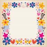 Harten en bloemengrens Stock Afbeelding