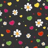 Harten en bloemenpatroon Stock Fotografie
