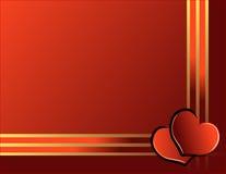 Harten en gouden lint royalty-vrije illustratie