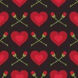 Harten en rozenpatroon Stock Foto's
