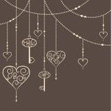 Harten en sleutels royalty-vrije illustratie