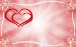 Harten en sterren op roze en witte achtergrond Stock Afbeeldingen