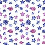 Harten en sterren van purper en blauw kleuren naadloos patroon, waterverfillustratie stock illustratie