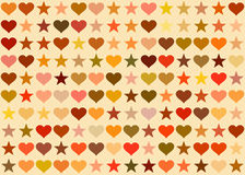 Harten en sterrenachtergrond Vakantiesymbool Royalty-vrije Stock Afbeeldingen